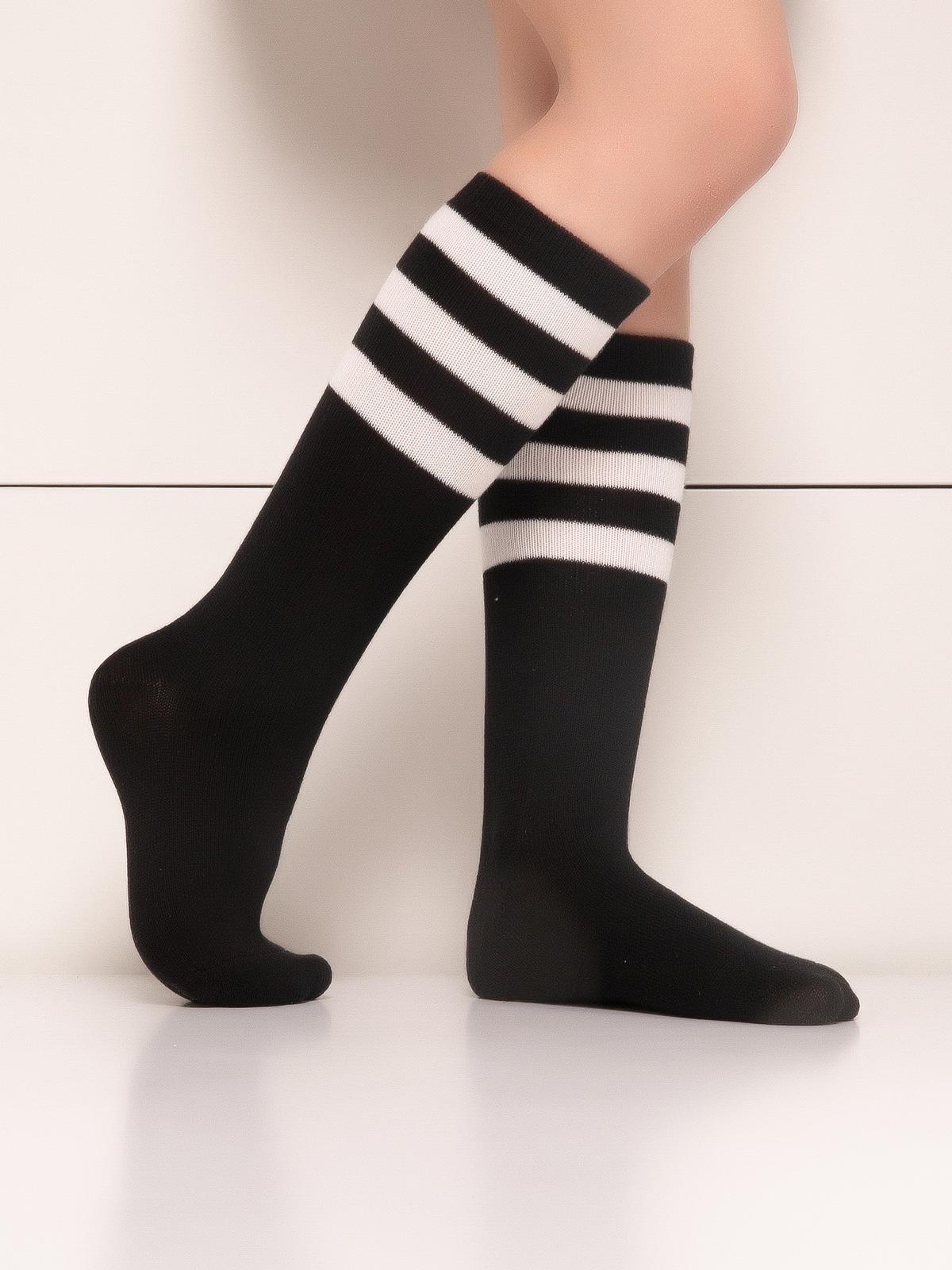 Купить Гольфы детские Hobby Line 4490-1 черный, белые полоски, 14-16, Гольфы для девочек