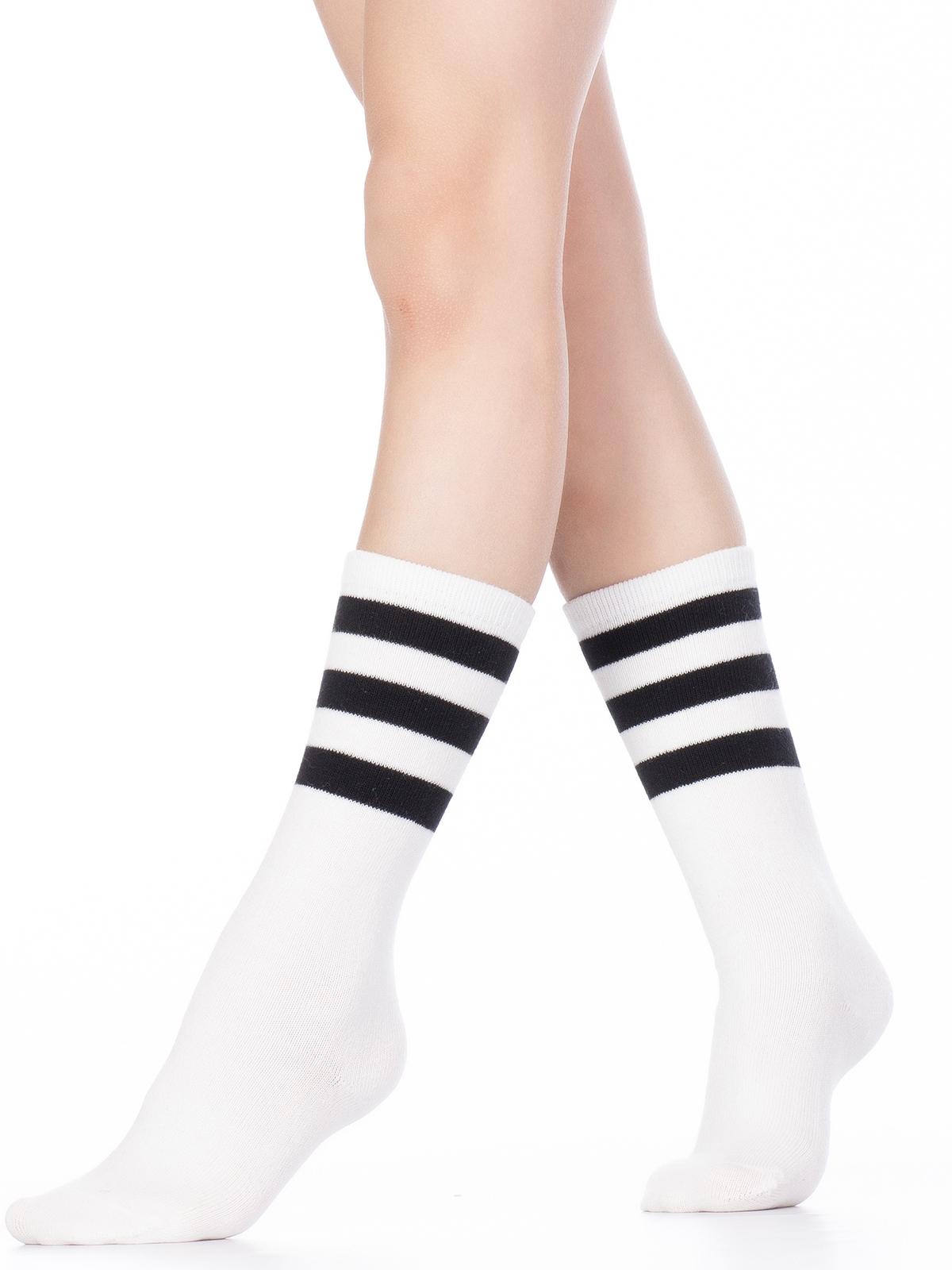 Купить Гольфы детские Hobby Line 4490-1 белый, черные полоски, 14-16, Гольфы для девочек