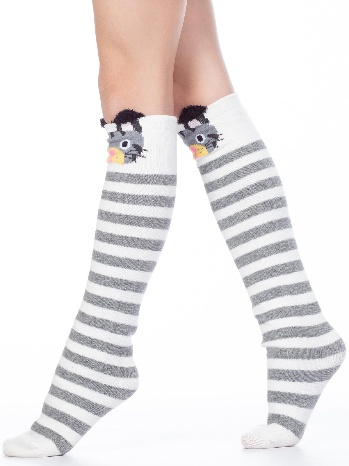 Купить Гольфы детские Hobby Line 4471-18 бело-серая полоска, Зайка, белый, серый 20-22, Гольфы для девочек