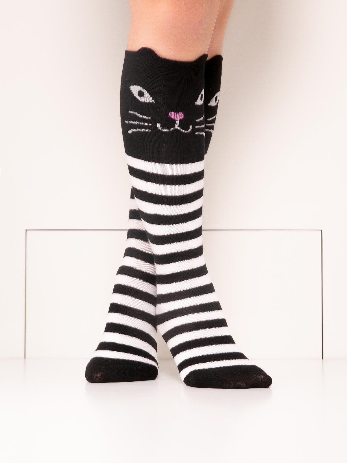 Купить Гольфы детские Hobby Line 4471-03 полоска бело-черная, Котик, белый, черный, 20-22, Гольфы для девочек
