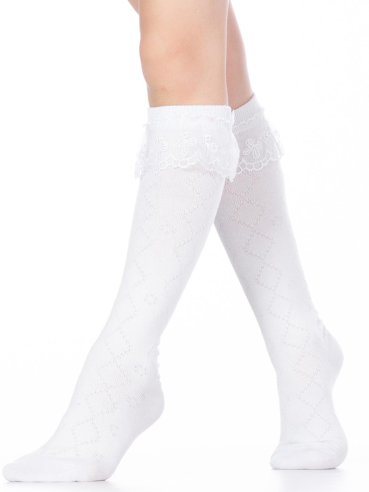 Купить Гольфы детские Hobby Line 833 ажурные, гипюровая рюшка сверху, белый, 16, Гольфы для девочек