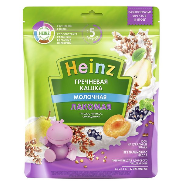 Каша молочная Heinz Гречневая грушка, абрикос, смородинка с 5 мес. 170 г