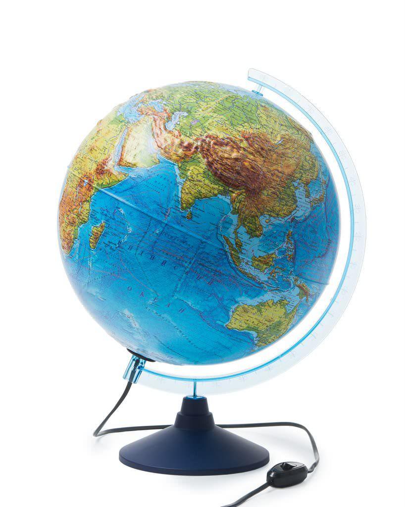Globen Глобус Земли физический d320, рельефный с подсветкой, Ке013200231