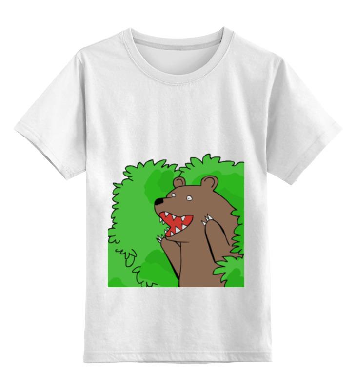 Купить 0000000722501, Детская футболка Printio Медведь из кустов цв.белый р.164,