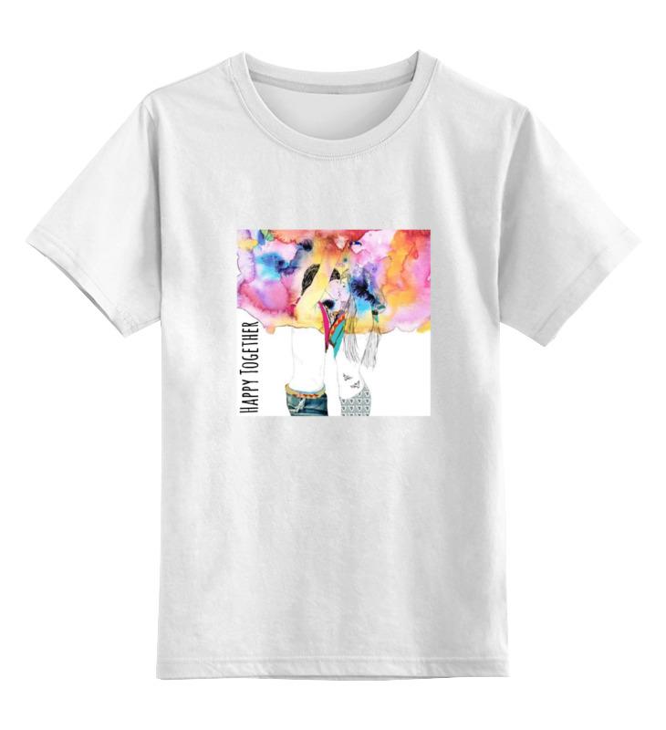 Купить 0000000721943, Детская футболка Printio Happy together цв.белый р.164,