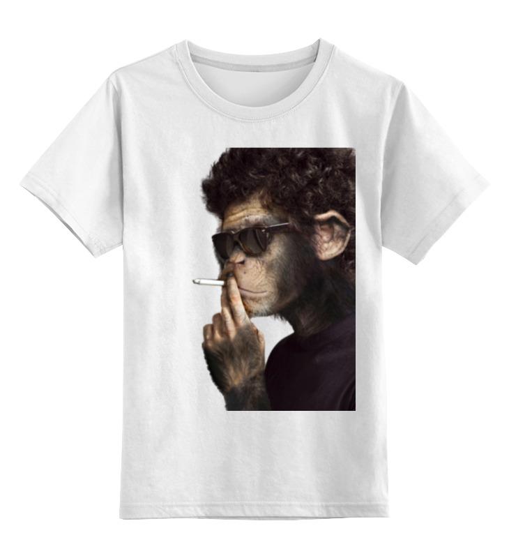 Купить 0000000723543, Детская футболка Printio Обезьяна курильщик цв.белый р.104,
