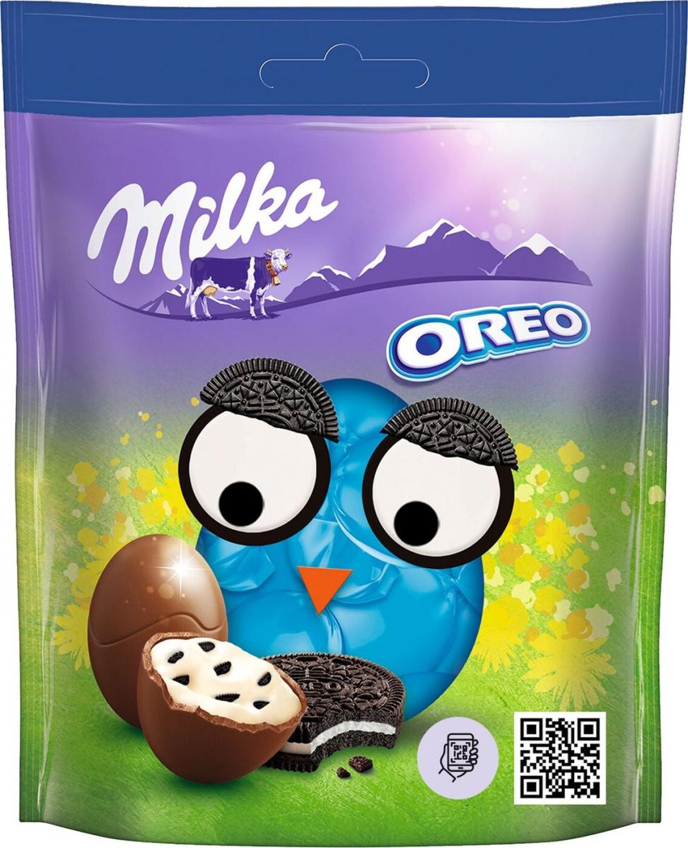 Шоколад Milka в форме яйца с молочной начинкой с кусочками печенья Oreo 86 г
