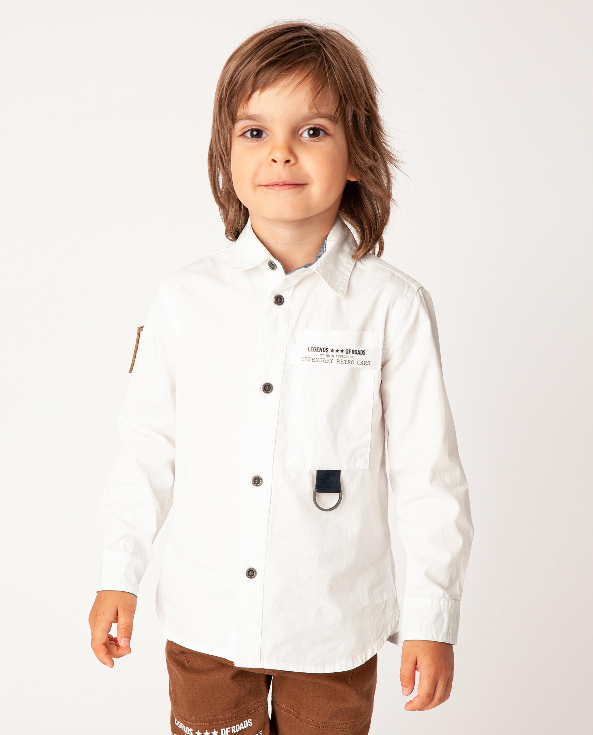 Белая рубашка с длинным рукавом Gulliver 22004BMC2304 размер 98