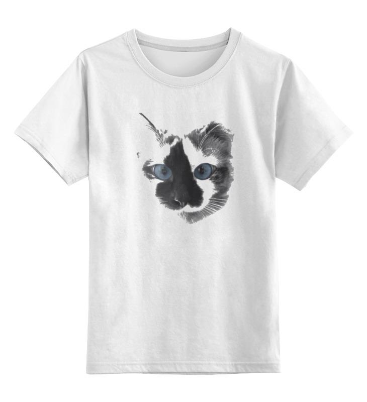 Купить 0000000726266, Детская футболка Printio Кошка цв.белый р.128,