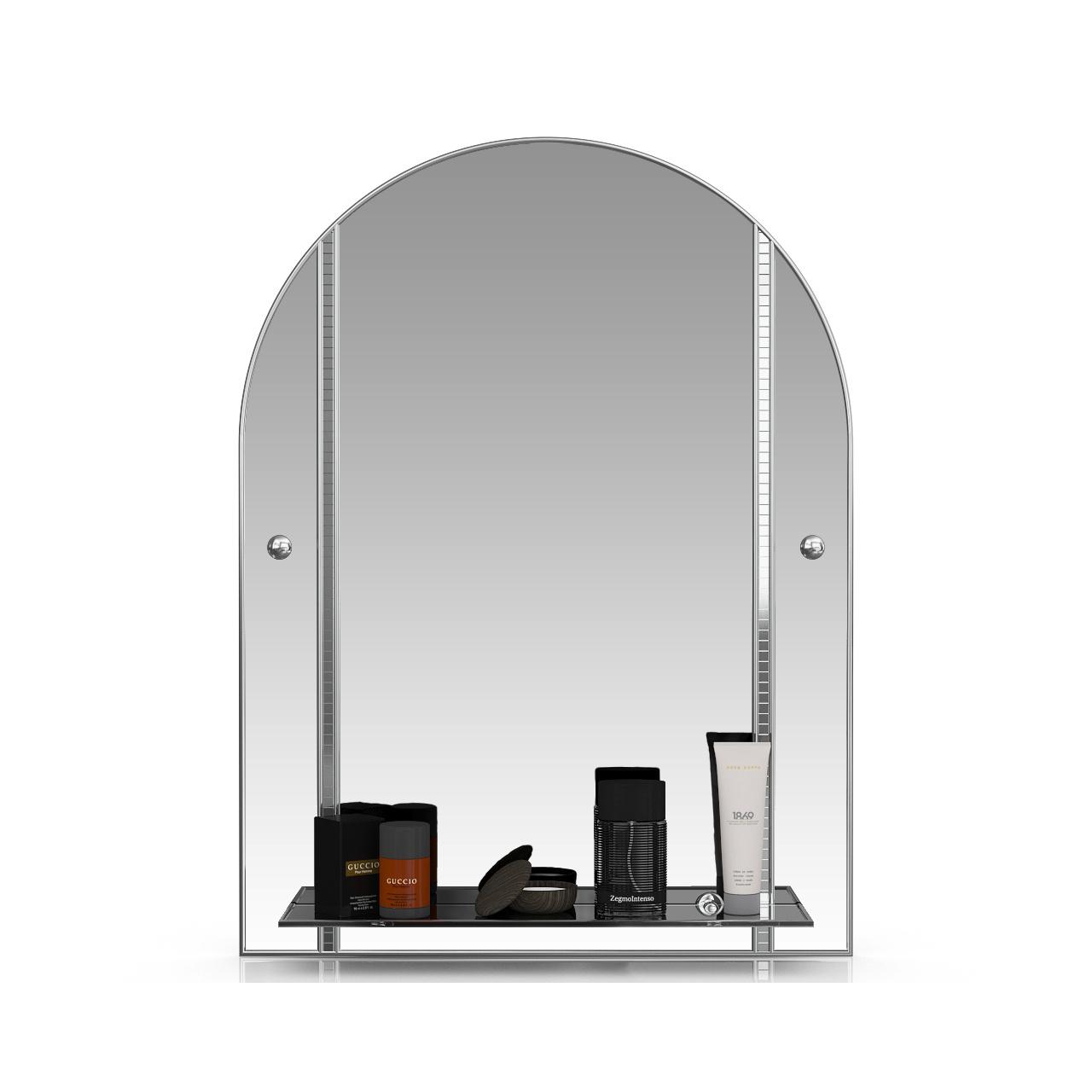 Зеркало ЕвроЗеркало 331ДМА серебро куб серебро, 60х80 см., для ванной комнаты, с полкой фото