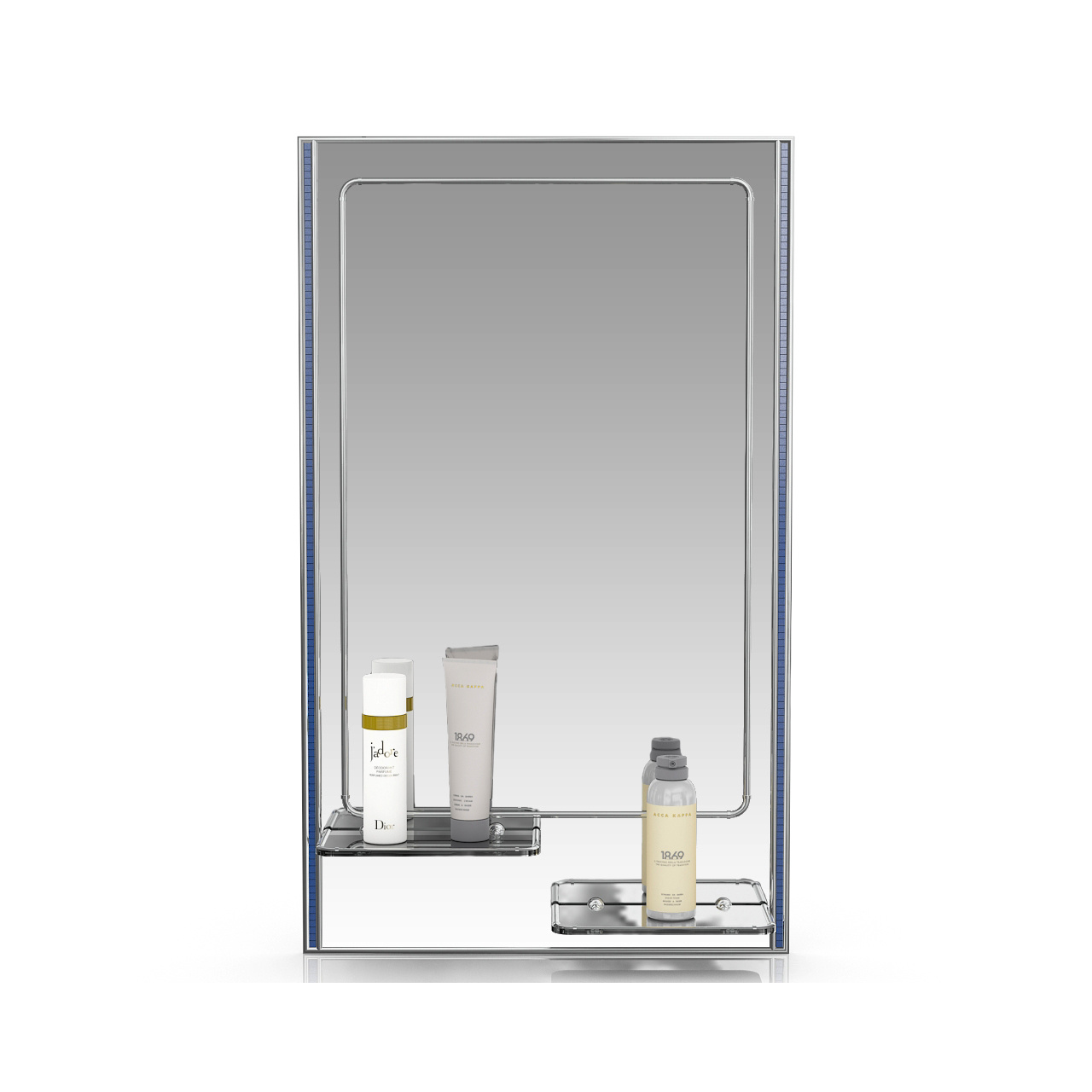 Зеркало ЕвроЗеркало 123ПЛ серебро куб голубой, 45х75