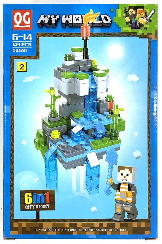 Купить Конструктор QG Minecraft Воздушный биом, 143 детали, Конструкторы пластмассовые