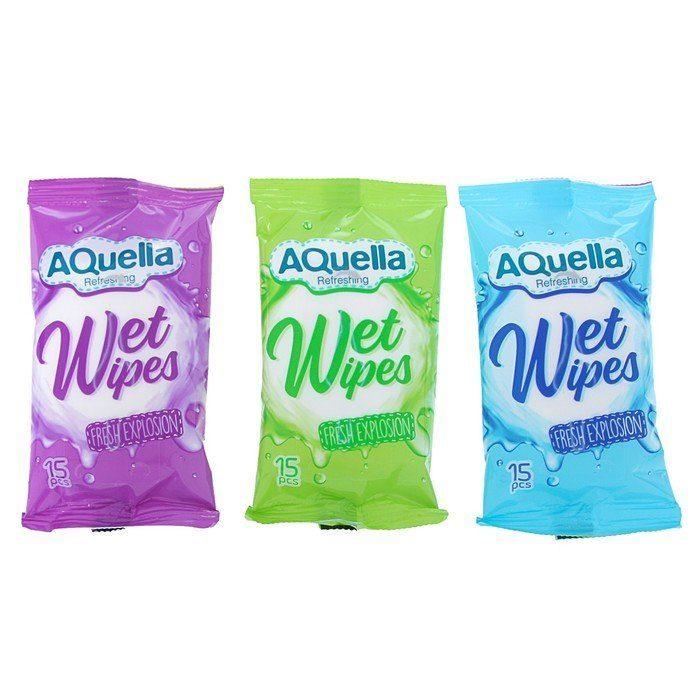 Влажные салфетки освежающие AQUELLA, 15шт