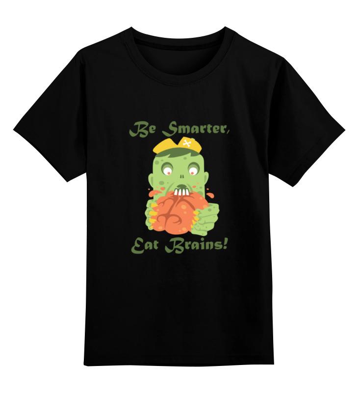 Купить 0000000724793, Детская футболка Printio Будь умнее, ешь мозги! цв.черный р.140,