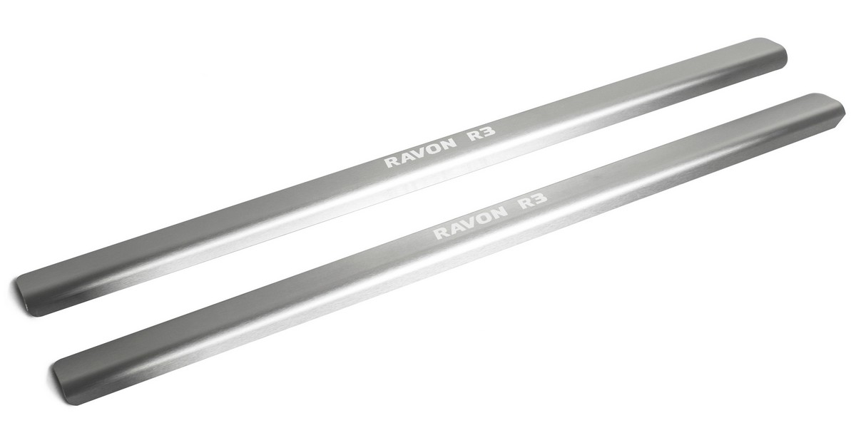 Накладки порогов Rival Ravon Nexia R3 2016-н.в., нерж. сталь, с надписью, 2 шт., NP.1302.3