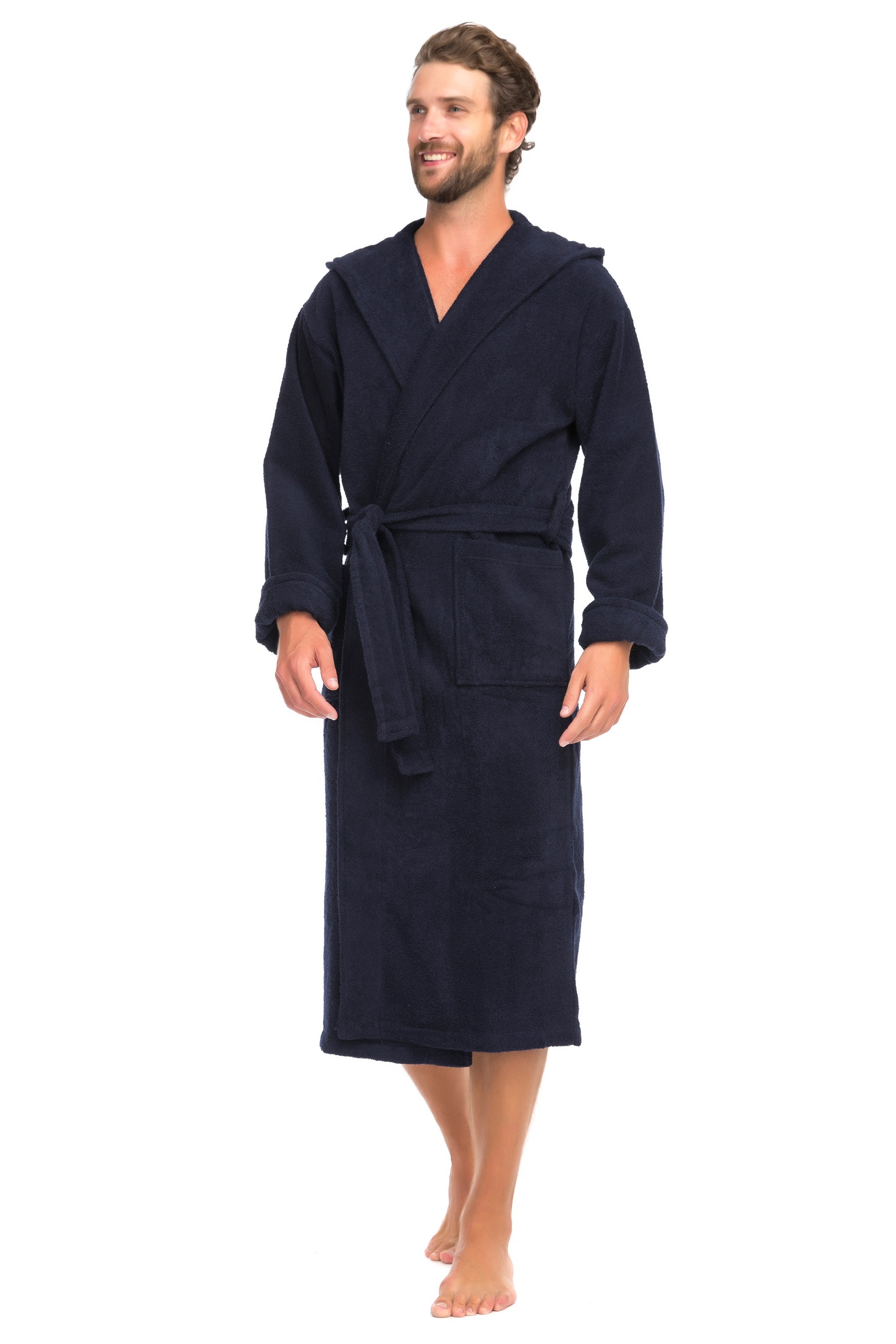 Мужской махровый халат с капюшоном SPORT#and#Life (Е 901-1), цвет тёмно-синий, размер 46-48