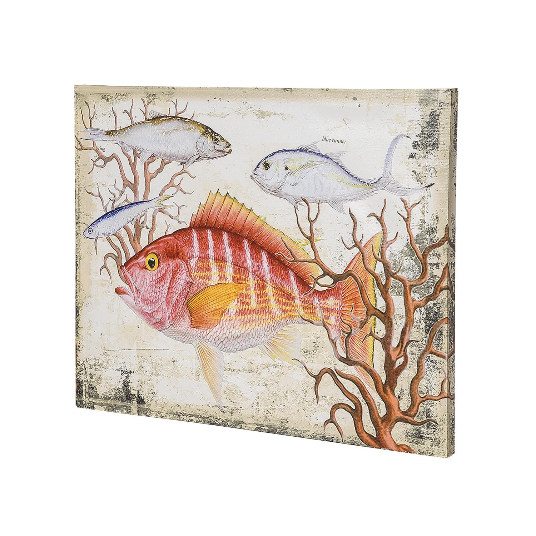 Постер на раме Рыба, морской стиль, 40х50 с, Холст, Дерево