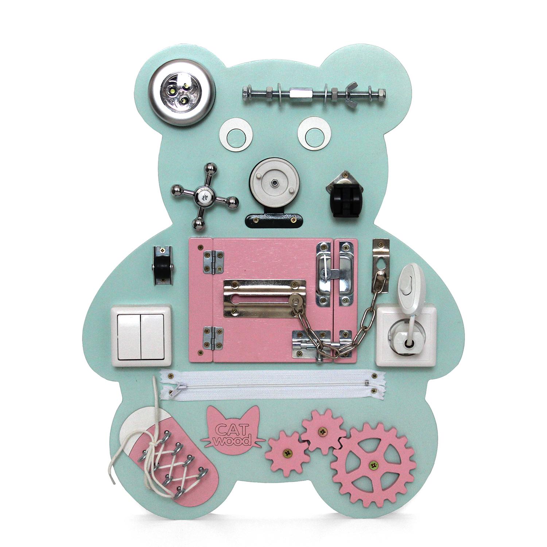 Бизиборд CatWood Мишка мятно розовый, 50х40