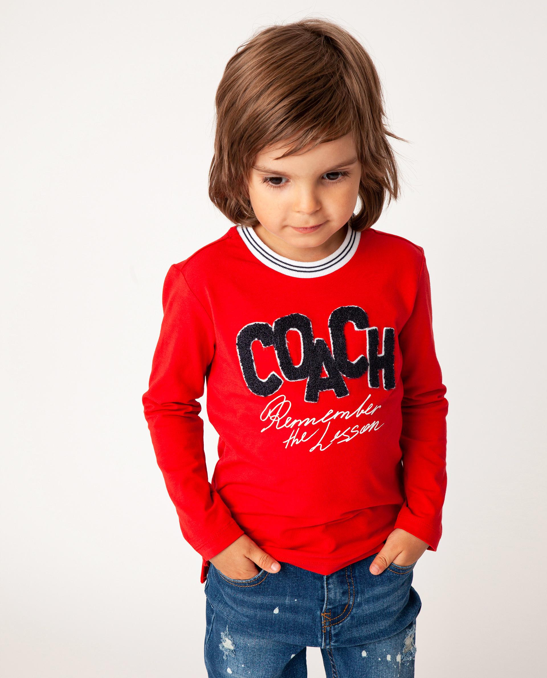 Купить Красная футболка с длинным рукавом Gulliver 22005BMC1205, размер 110,