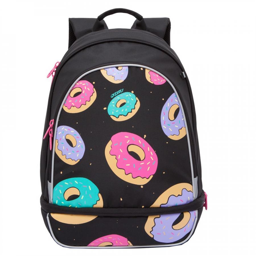 Купить Рюкзак детский Grizzly RG-069-1 черный, Школьные рюкзаки для девочек