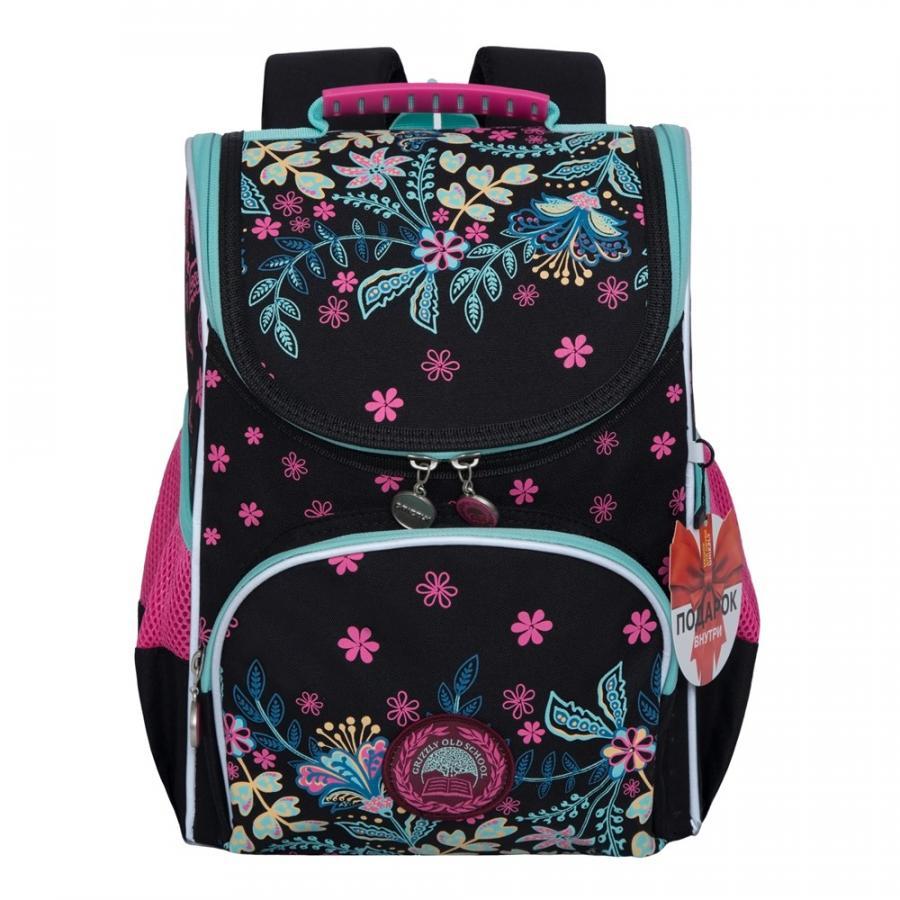 Купить Рюкзак детский Grizzly RAm-084-2 черный, Школьные рюкзаки для девочек