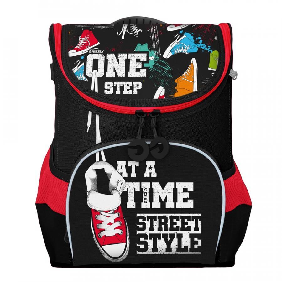 Купить Рюкзак детский Grizzly RAn-083-4 черный, Школьные рюкзаки для мальчиков