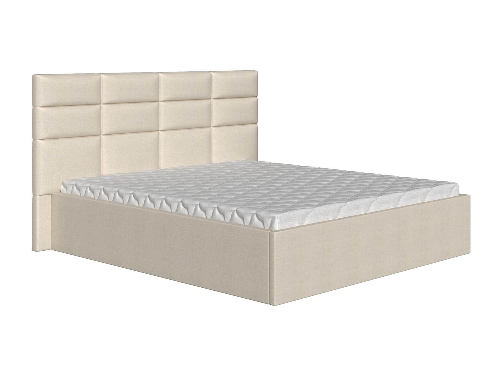 Двуспальная кровать Коста Бежевый, рогожка, 160х200 см