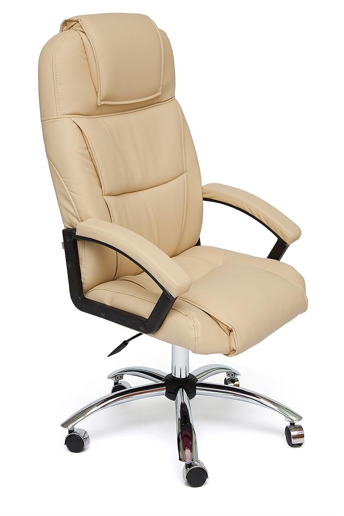Кресло руководителя BERGAMO CHROME Иск. кожа бежевая