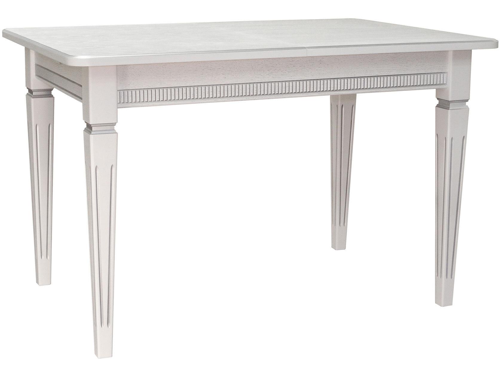Кухонный стол Васко В 86Н раздвижной 120(170)х80 Белый/Патина серебро