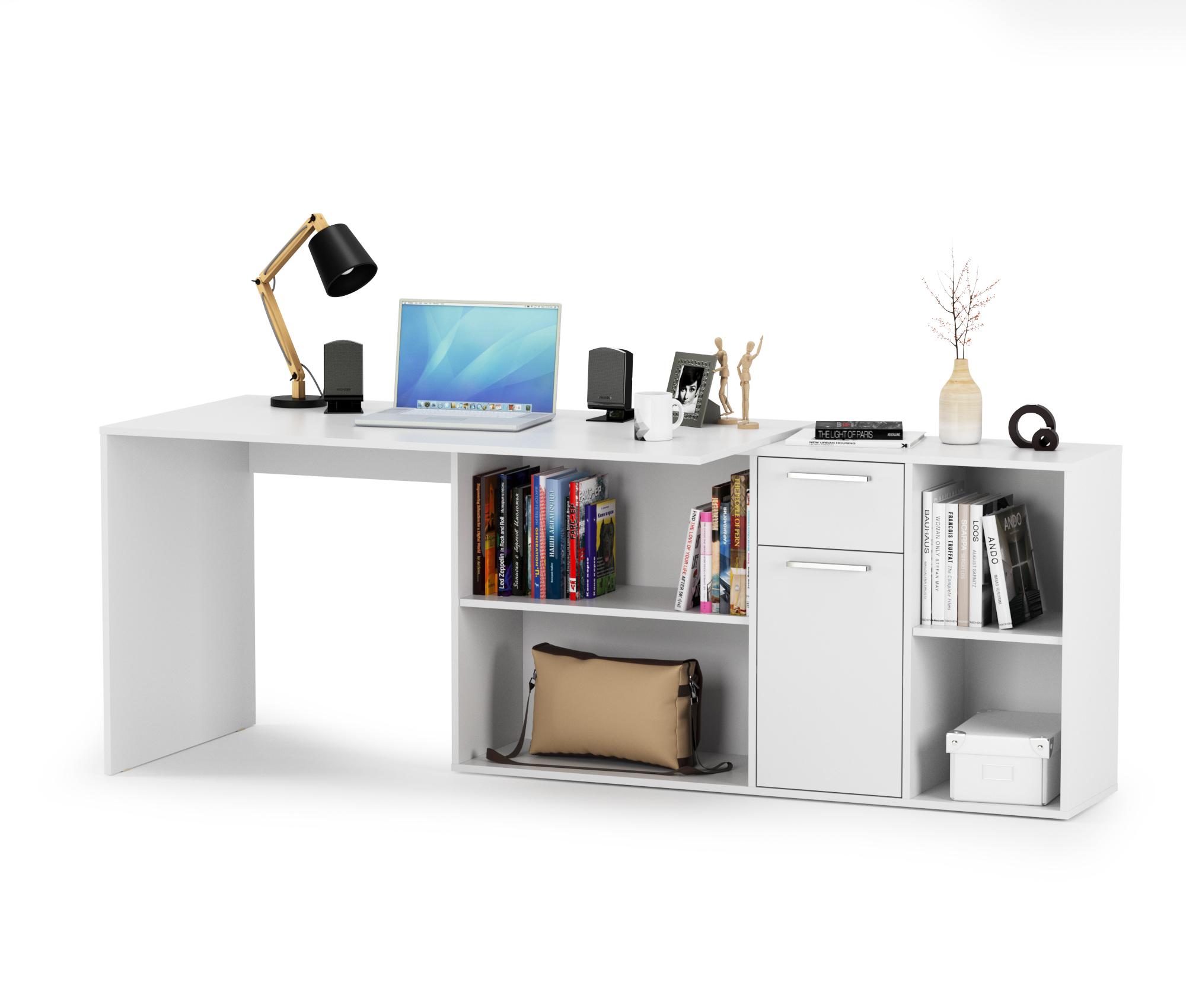 Стол письменный Mobi Лайт 03.245 белый, 136х139,2х75,2 см.(угловой) или 203,5х68х75,2 см