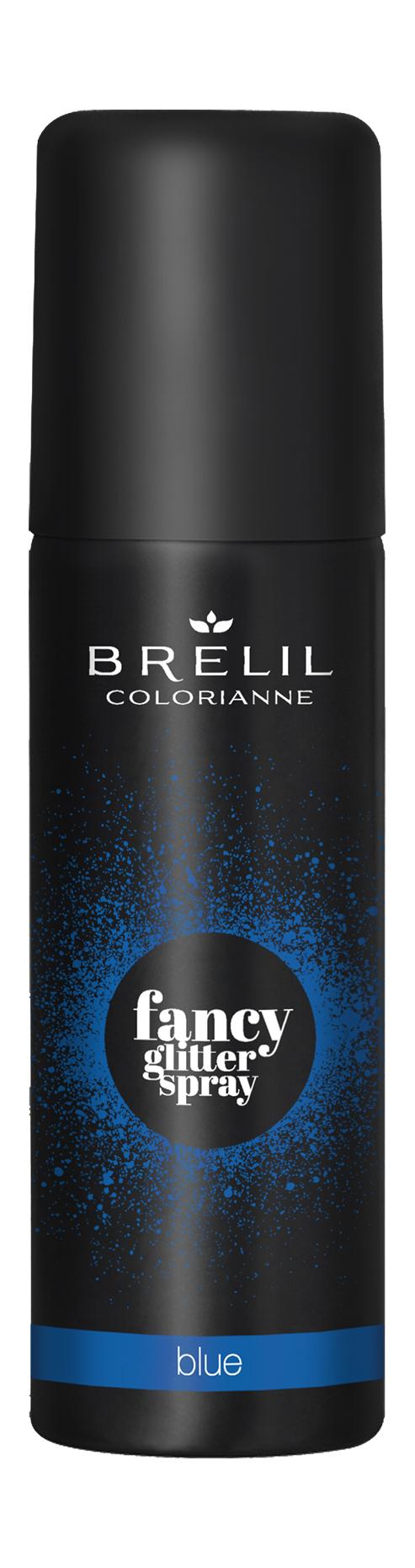 Купить Спрей-макияж для волос Brelil Colorianne Fancy Glitter Spray синий с блестками 75 мл, Brelil professional