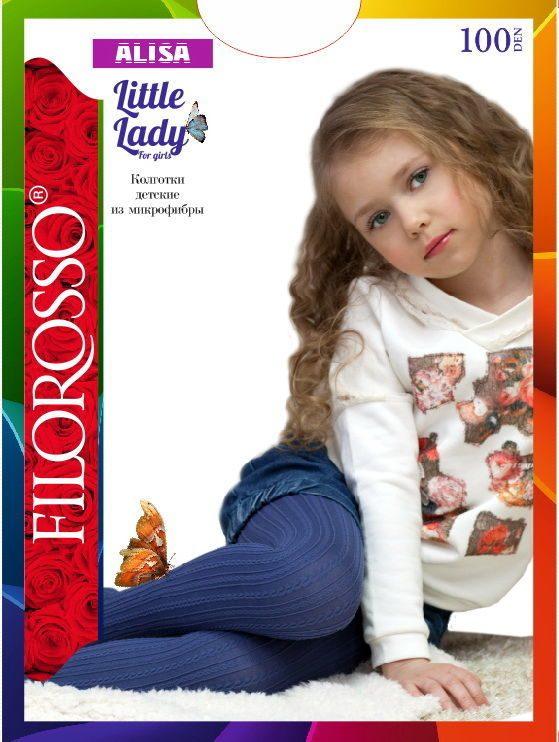 Купить Колготки детские Filorosso Косичка 100 den, синий, р.122-128, Колготки для девочек