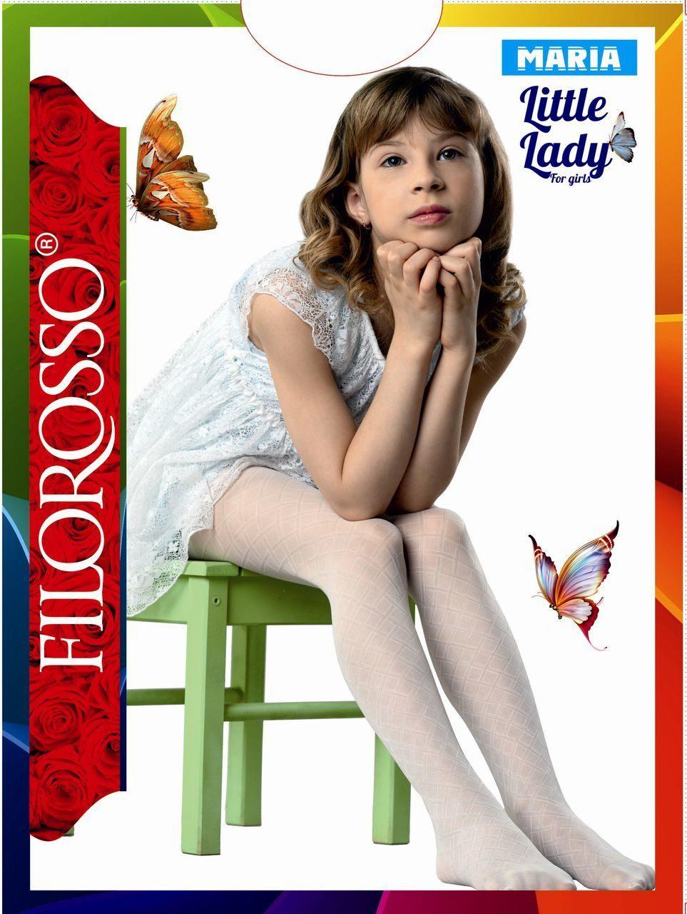 Купить Колготки детские Filorosso Сетка-Ромбик 40 den, белый, р.104-110, Колготки для девочек