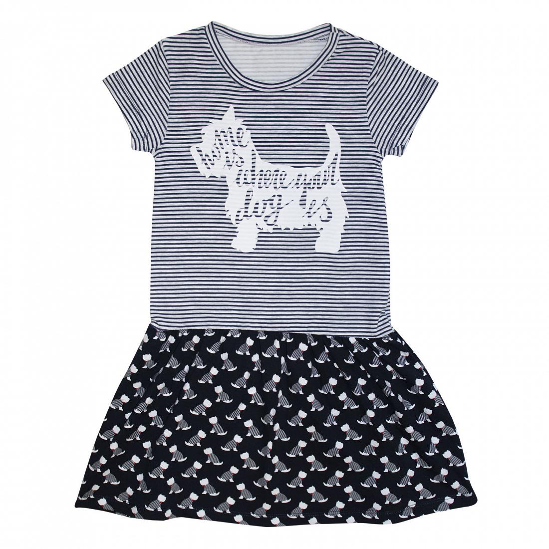 Купить 609к/л ап, Платье детское Юлла, цв. белый; черный р.122, Платья для девочек