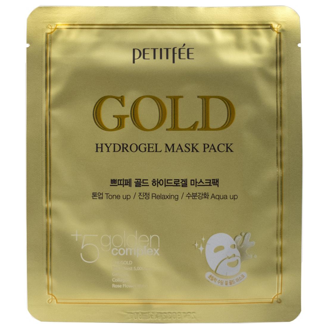 Маска для лица PETITFEE гидрогелевая с золотом,