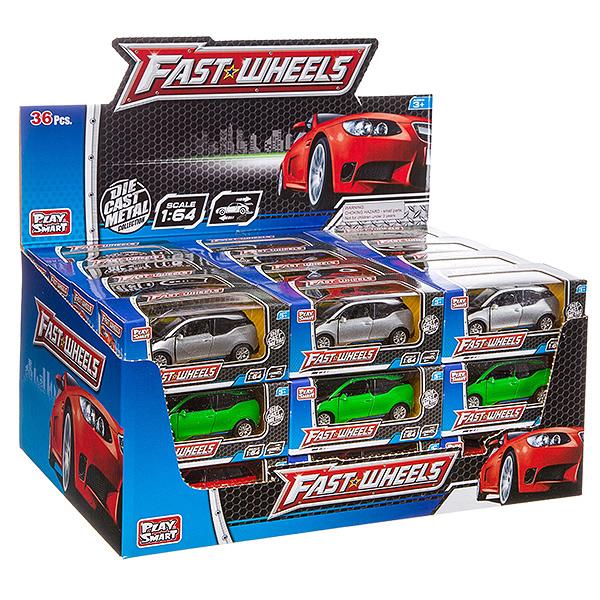Купить Набор металлических инерционных машин Play Smart Fast Wheels 6588W, 36 шт., PLAYSMART, Игрушечные машинки