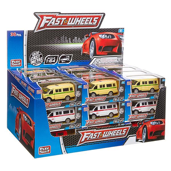 Купить Набор металлических инерционных машин Play Smart Fast Wheels 6592W, 36 шт., PLAYSMART, Спецслужбы