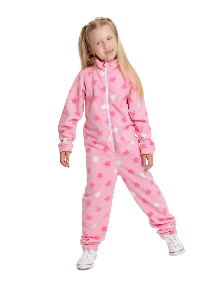 Купить Комбинезон с воротником-стойкой Веселый малыш 352/271/H_Звезды, розовый_98, Повседневные комбинезоны для девочек