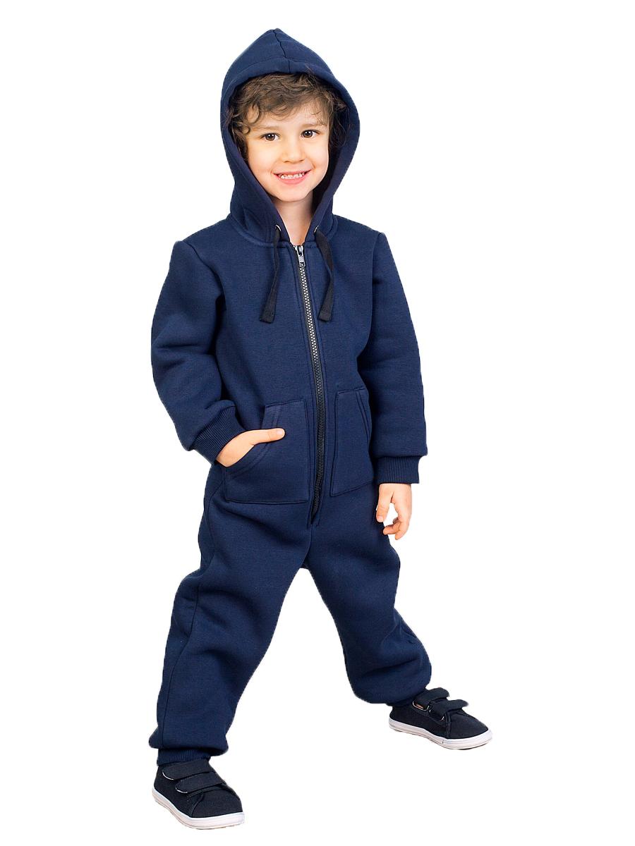 Купить Комбинезон с капюшоном Веселый малыш 351/140/K_темно-синий_116, Повседневные комбинезоны для мальчиков