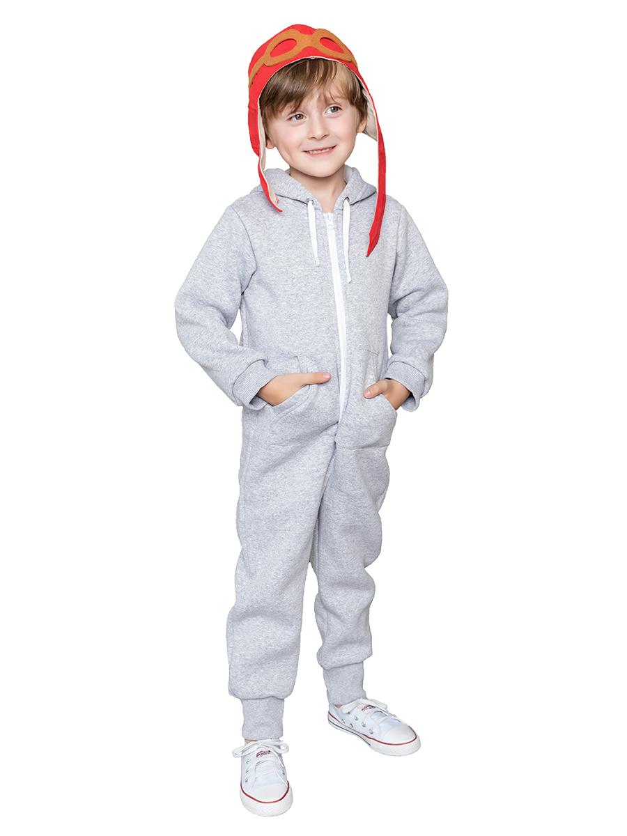 Купить Комбинезон с капюшоном Веселый малыш 351/140/I_серый меланж_104, Повседневные комбинезоны для девочек