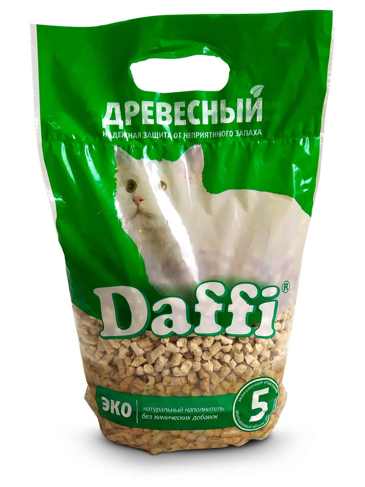 Впитывающий наполнитель для кошек Daffi EKO древесный,