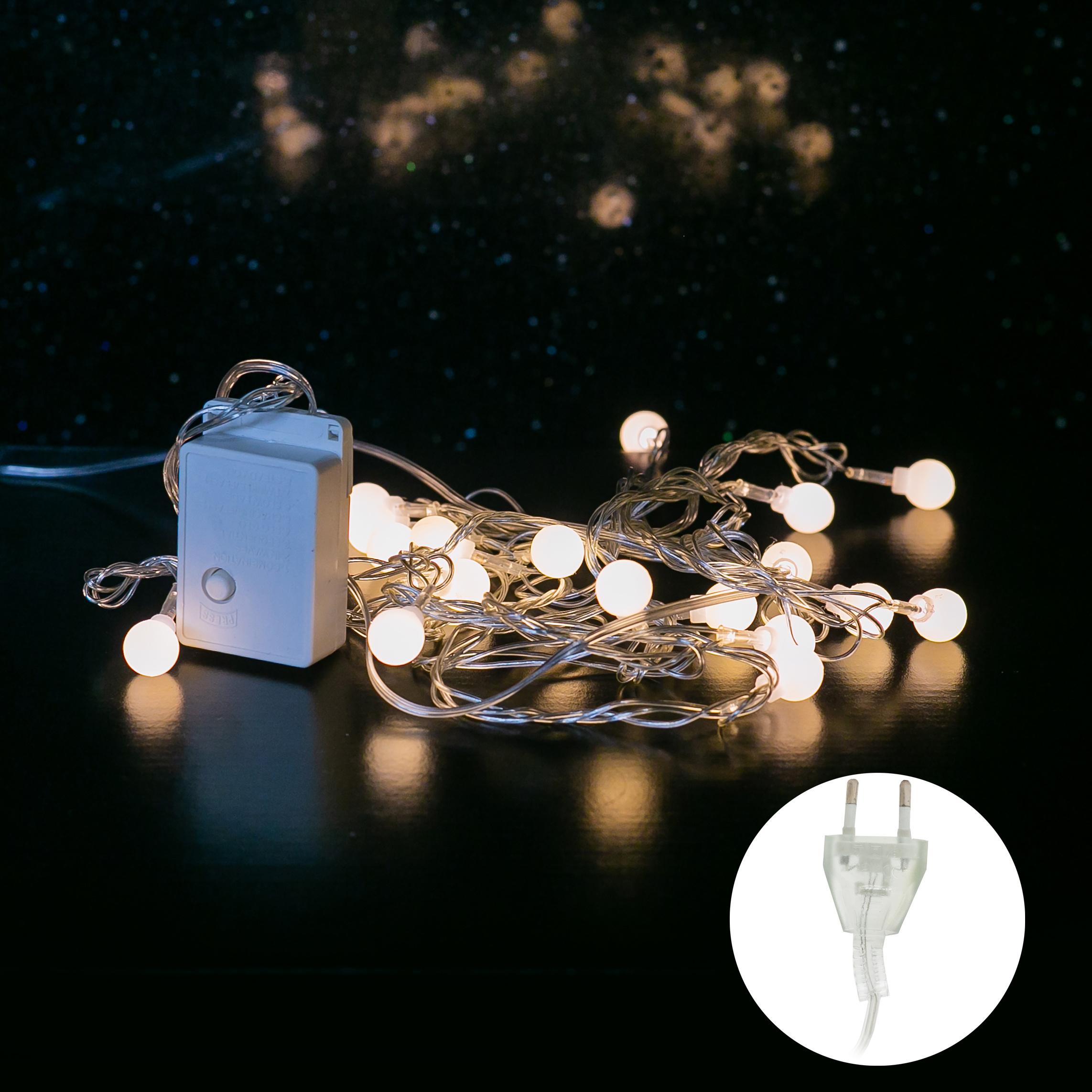 Электрогирлянда Старт 20 ламп, 3 м, шарики, 14818 фото