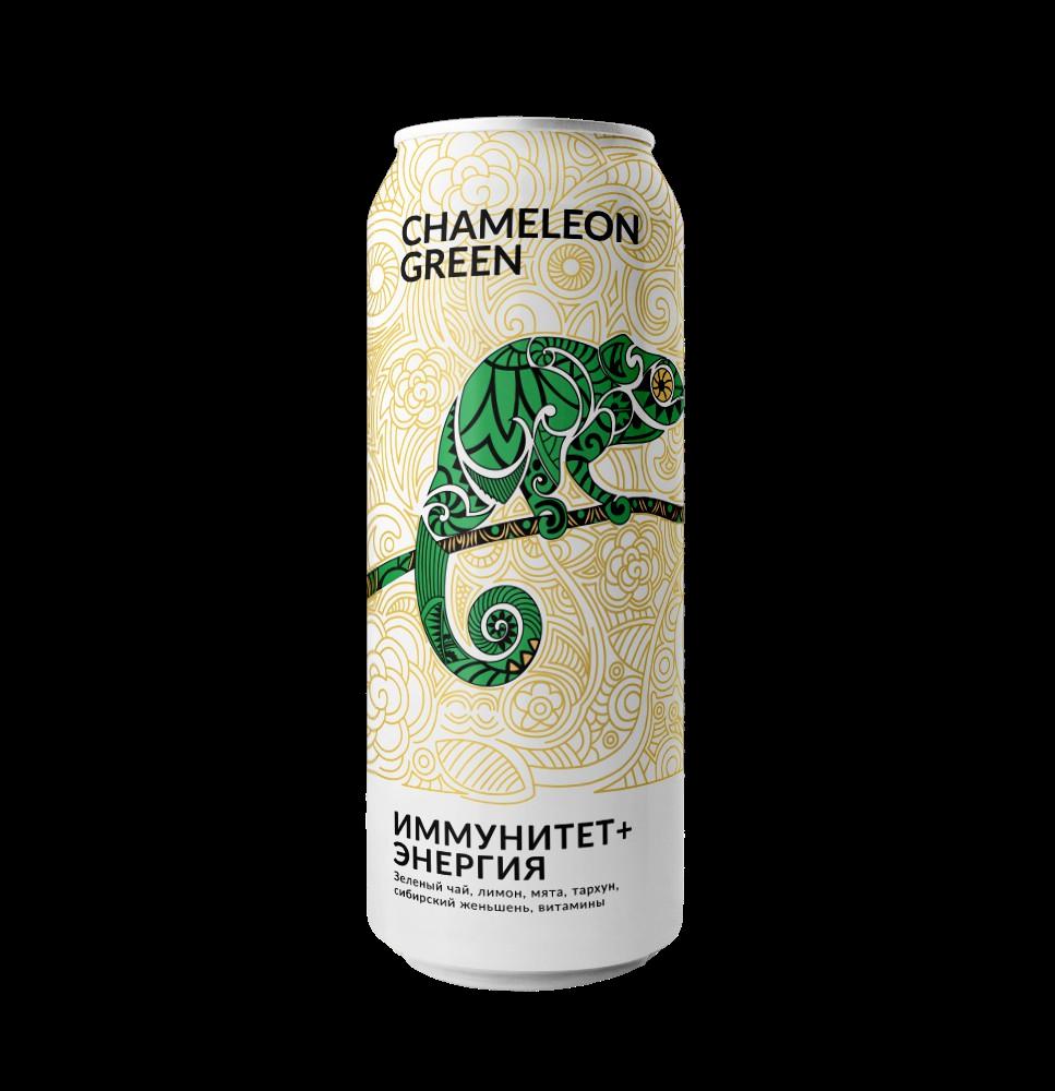 Энергетический напиток без сахара Green Chameleon 500мл Лимон Тархун Иммунитет + энергия