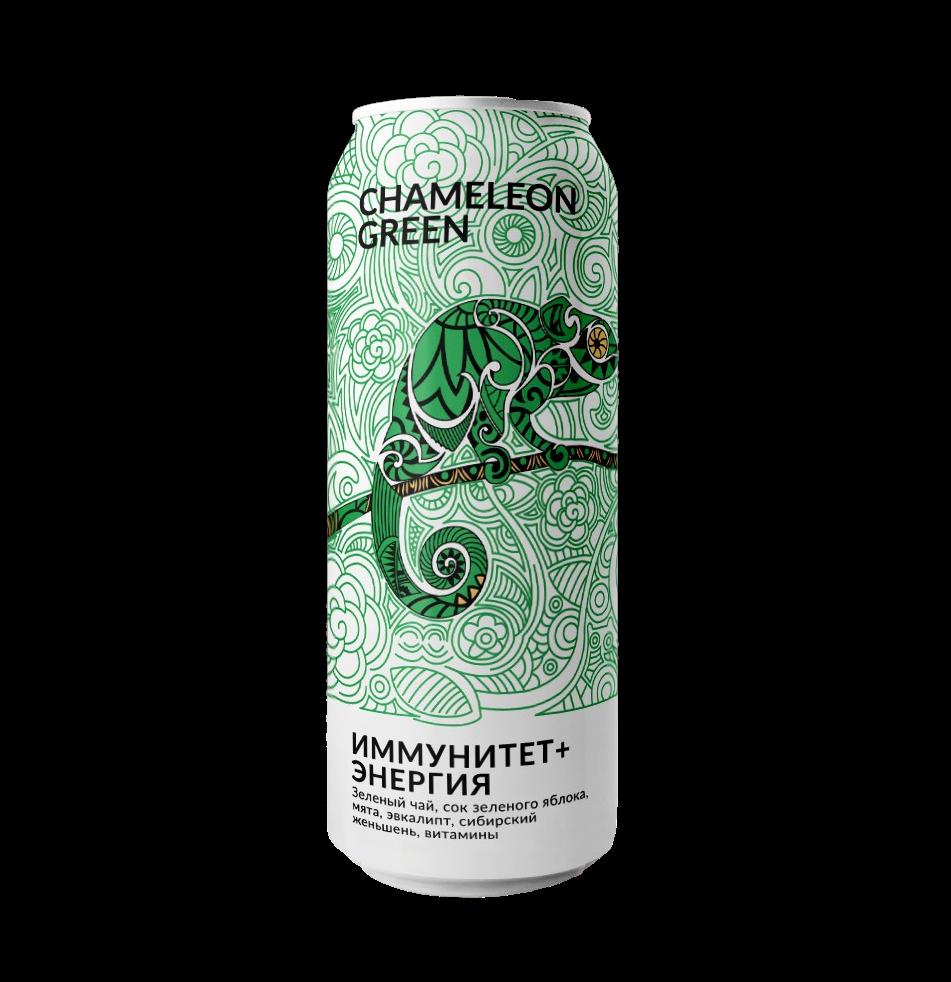 Энергетический напиток без сахара Green Chameleon 500мл Эвкалипт Иммунитет + энергия