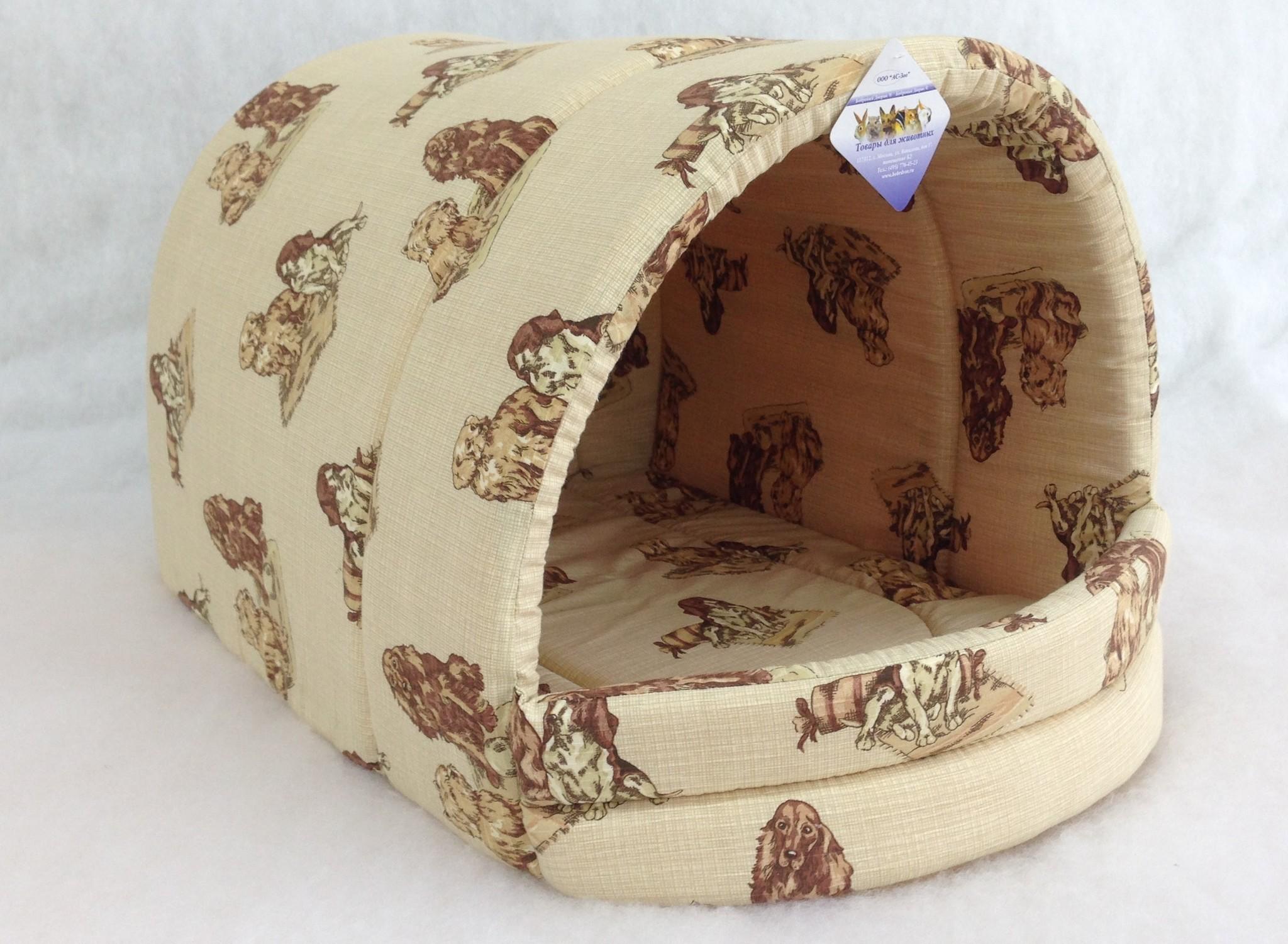 Домик для кошек и собак Бобровый Дворик Эстрада №2, бежевый, коричневый, 44x40x36см