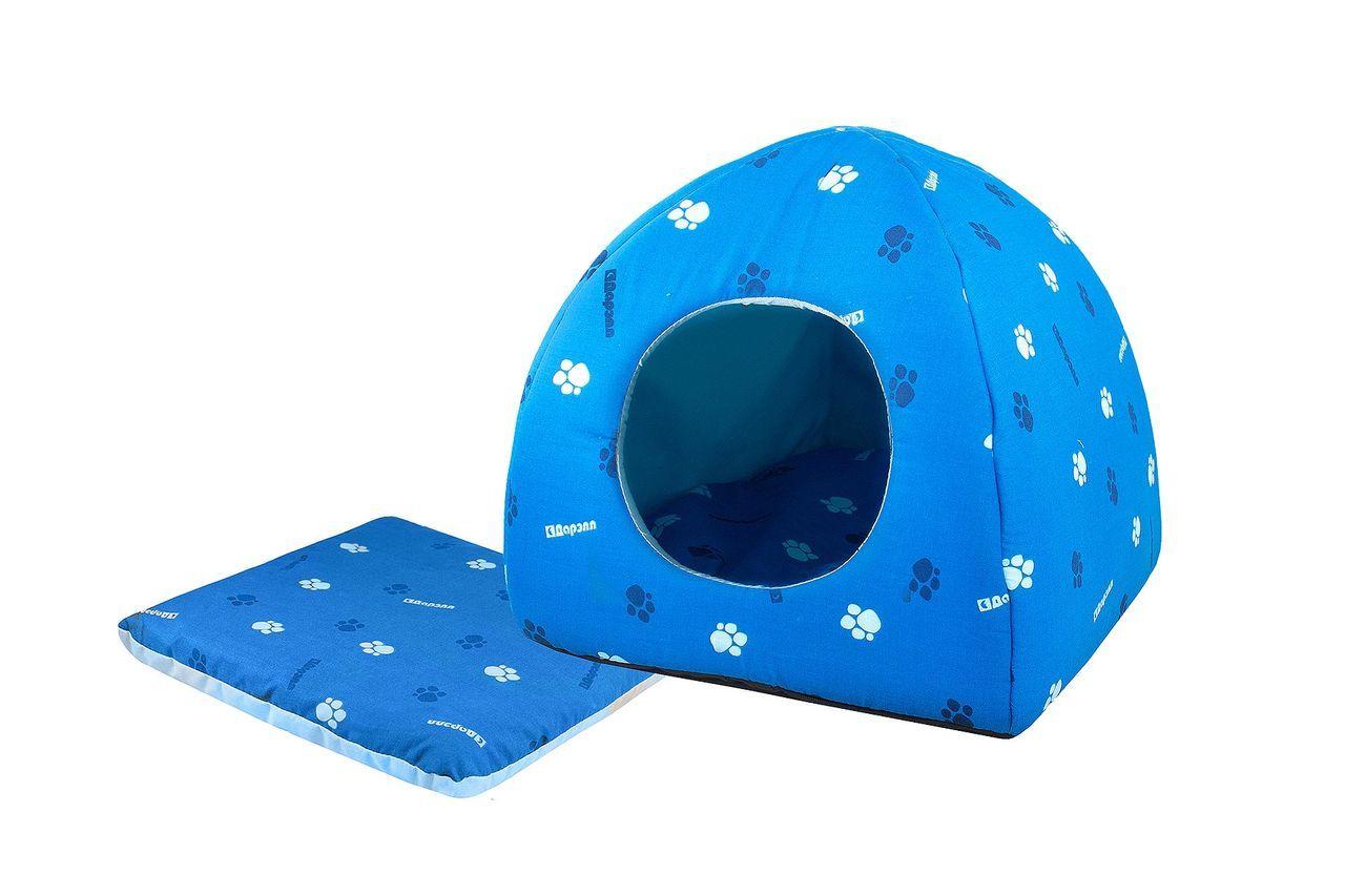 Домик для кошек и собак Дарэлл Юрта, синий, 42x42x41см