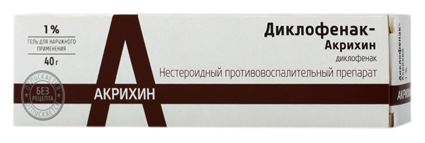 Диклофенак-Акрихин гель для наружн.прим.1% 40 г