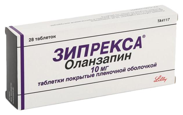 Купить Зипрекса таблетки, покрытые пленочной оболочкой 10 мг №28, Eli Lilly and Company