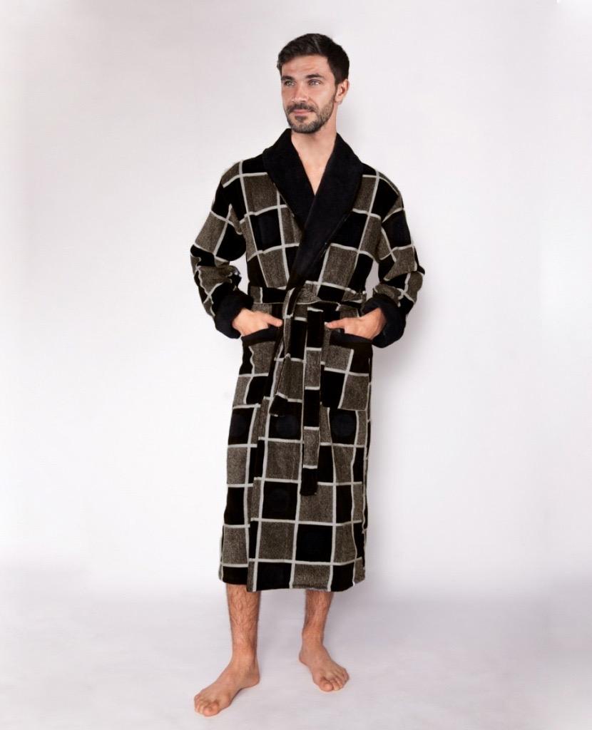 Домашний халат мужской Текстилёфф Богатырь 2 коричневый 60-62
