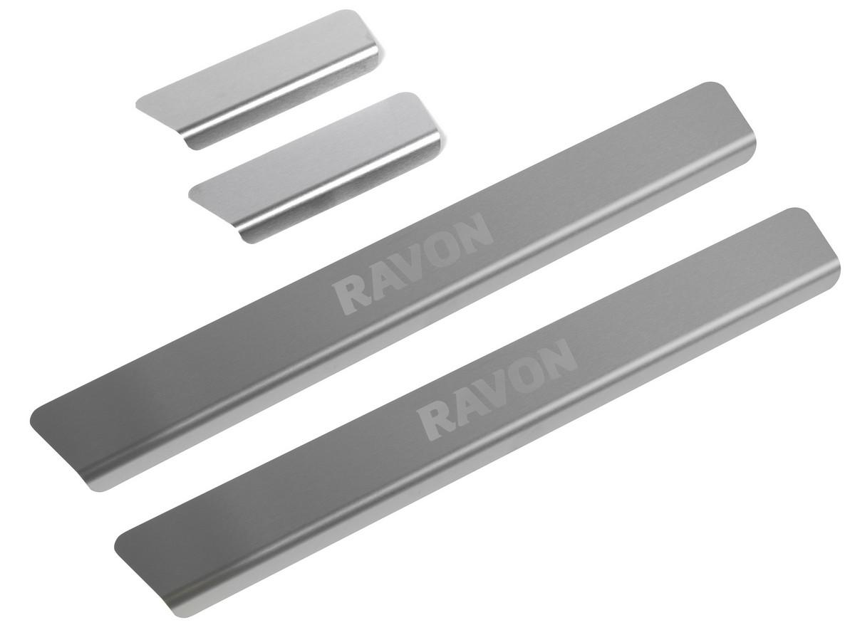 Накладки порогов Rival для Ravon R4 2016-н.в., нерж. сталь, с надписью, 4 шт., NP.1303.3